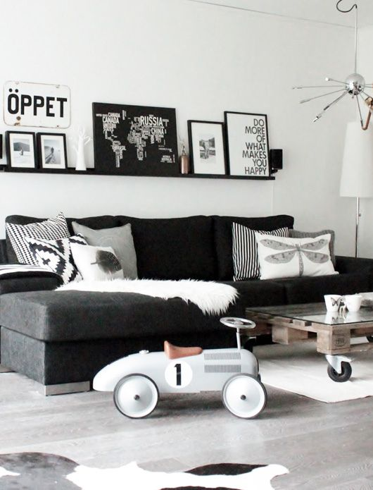 Paint Your Walls White, Add A Black Couch, Your Favorite Black And White  Images, Then Go Wild With Corrdinating Pillows And Accessories. Norwegian  Living ...