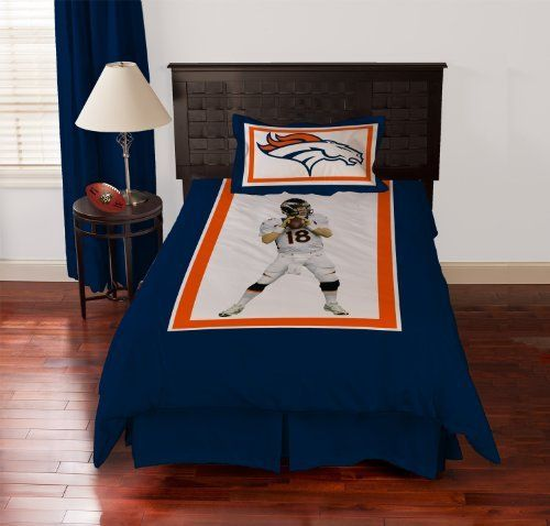 Biggshots Denver Broncos Peyton Manning Comforter Set, Twin by Biggshots. $167.22. Set includes comforter and bed skirt and pillow sham. Football room decor with NFL team colors. Crisp true life action imagery by Biggshots. 100 percent polyester plush super select fiber filling and machine washable. Official NFL and NFL player association license team bedding. Experience the action and get in the game with your favorite Biggshots NFL player twin comforter set. ...