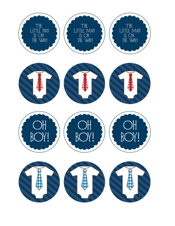 Printable Little Man Cupcake Toppers