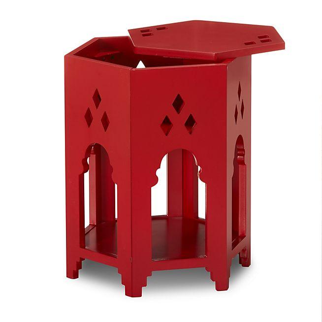 Ideal Taj Bout de canap rouge esprit oriental avec vide poche cach