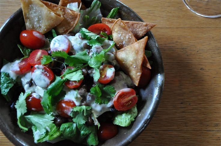¡Hola! Jalapeño: Black Bean Taco Salad with Green Chile Dressing Recipe