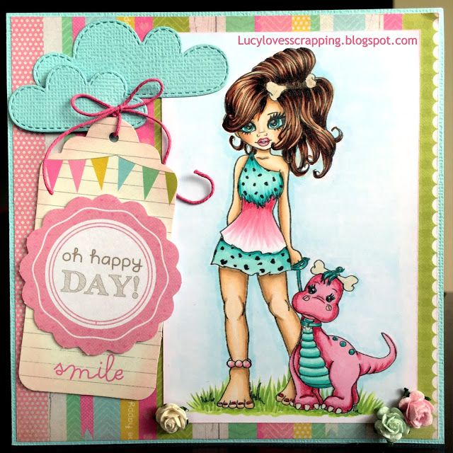 Lucy loves scrapping: Cute as a Button CAAB cavegirl with dinosaur pet digital stamp, hand colored with Copic markers, handmade cute girly card