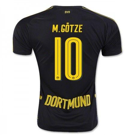 Billige Fotballdrakter BVB Borussia Dortmund 2016-17 Gotze 10 Borte Draktsett Kortermet