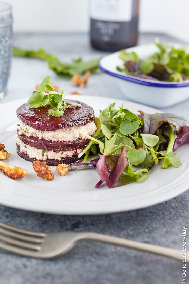 These roasted beetroot napoleons with walnut cream are an elegant vegan appetiser that is sure to impress this festive season. Despite how impressive they look they couldn't be simpler to make!