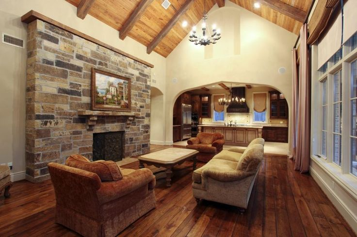 1000 ideas about stone fireplace wall on pinterest for Natural wood beams