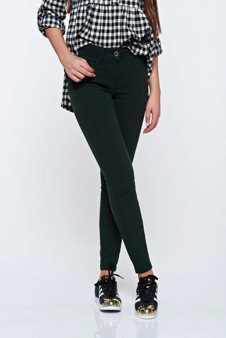 Top Secret darkgreen cotton skinny jeans with front pockets, front pockets, back pockets, tented cut, elastic fabric, women`s trousers, button and zipper fastening