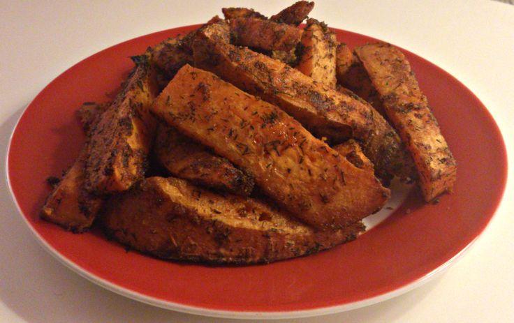 Zoete aardappelen met dille en knoflook