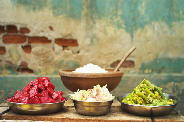 Beetroot curry with snake bean curry