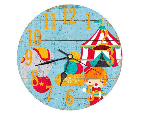 Circus Clock. Decoupage handmade clock in Aqua Red Orange White Shades. 8 inch diameter. Kids clock. Bedroom clock. circus decor.