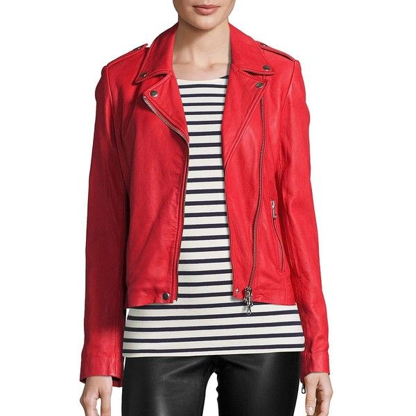 SET Women's Tyler Leather Jacket ($645) ❤ liked on Polyvore featuring outerwear, jackets, contemporary sp - set, red, real leather jackets, genuine leather jackets, asymmetrical zip leather jacket, asymmetrical zipper jacket and red leather jacket
