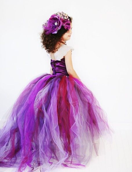 Purple Plum Flower Girl Tutu Dress w/ Detachable Train
