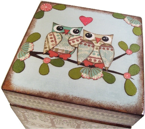 Trinket Treasure Keepsake  Box For Baby or Child  Owls and Other Fun Designs MADE TO ORDER   Large. $30.00, via Etsy.