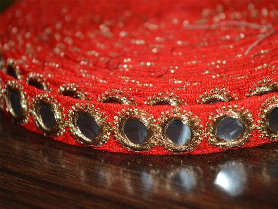 Red Traditional Trim Embroidered Border Lace Mirror Sequins Work 0.5'' Wide Crafting Supplies Indian Sewing Tape By The Yard