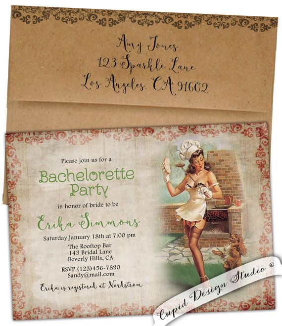 Retro Bachelorette party invitations Pin up girl Bridal Shower Hens Party invitation Barbecue BBQ Custom diy digital printable or printed
