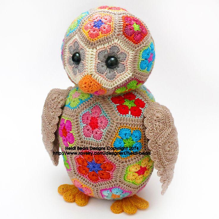 Crochet African Flower Animal Patterns : Aloysius the African Flower Owlet Crochet Pattern pattern ...