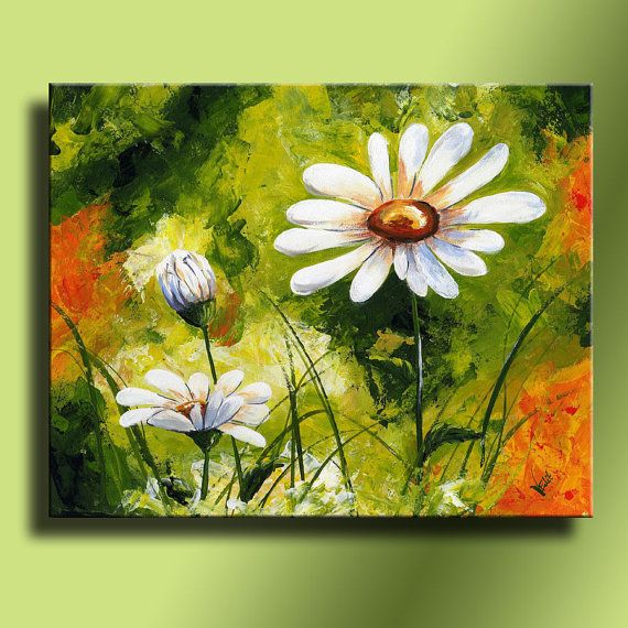 Canvas Print of Original acrylic painting White Daisies Wall hanging Decorative Art