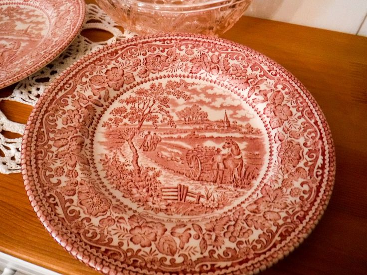 Vintage ironstone plates / Country farm scene / transferware plates / salad plates / bread butter plate /  underglaze paint / red side plate by GrandmasOldStories on Etsy