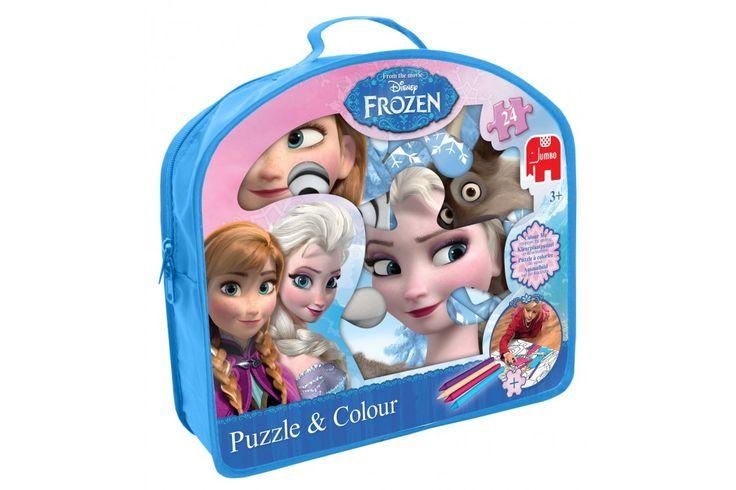 Disney Frozen Puzzle & Colour van Jumbo  Let it go! Anna, Elsa, Olaf en Sven in een grote puzzel bij elkaar! Jouw favoriete Frozen helden allemaal op 24 puzzelstukjes. #disney #frozen #jumbo #kindercadeau #puzzel
