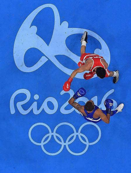 #RIO2016 Sofiane Oumiha of France fights Amnat Ruenroeng of Thailand in their Mens weight kg bout on Day 4 of the Rio 2016 Olympic Games at the Riocentro...