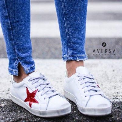 Kammi Sneakers Milano pelle bianca/rossa