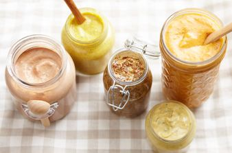 5 Flavored Mustard Recipes- Kick mustard up a notch by adding a variety of ingredients, many of which are probably already in your pantry. Try our 5 simple recipes, then use them to glaze meats or flavor sandwiches and salads. After combining all ingredients, transfer to a jar and refrigerate for 24 hours to allow flavors to develop. Mustard can be kept in the refrigerator for 1-2 weeks with fresh ingredients or up to 6-12 months for mustards with dried herbs.