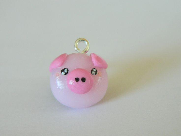 Charming kawaii pig charms.-Polymer clay charm-Polymer clay apple-Kawaii polymer clay charms-Kawaii little pig-Pink pig charm by EVAMARE on Etsy