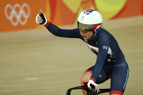 Laura Trott Photos - Laura Trott of Great Britain celebrates after the Cycling…