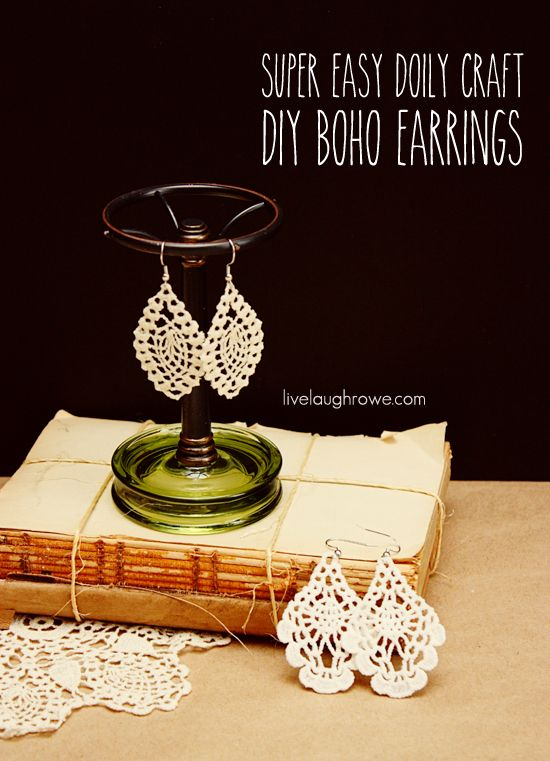 Ooh, ooh, ooh! I think I may have just found my Mother's Day gift for this year! - DIY Boho Earrings using a doily with livelaughrowe.com
