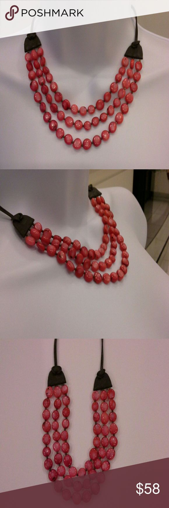 """Sale 💖Gorgeous natural stone necklace/choker Absolutely gorgeous 3 tiered red natural stone necklace choker.  Leather band.  In excellent condition.  18"""" adjustable.  tags: gold silver choker necklace dressy casual formal prom wedding follow real costume party girls women's men kids Jewelry Necklaces"""