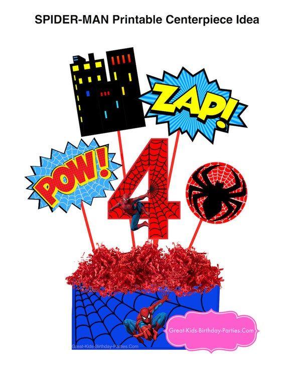 Spiderman Printable Number 4 Centerpiece Instant Download