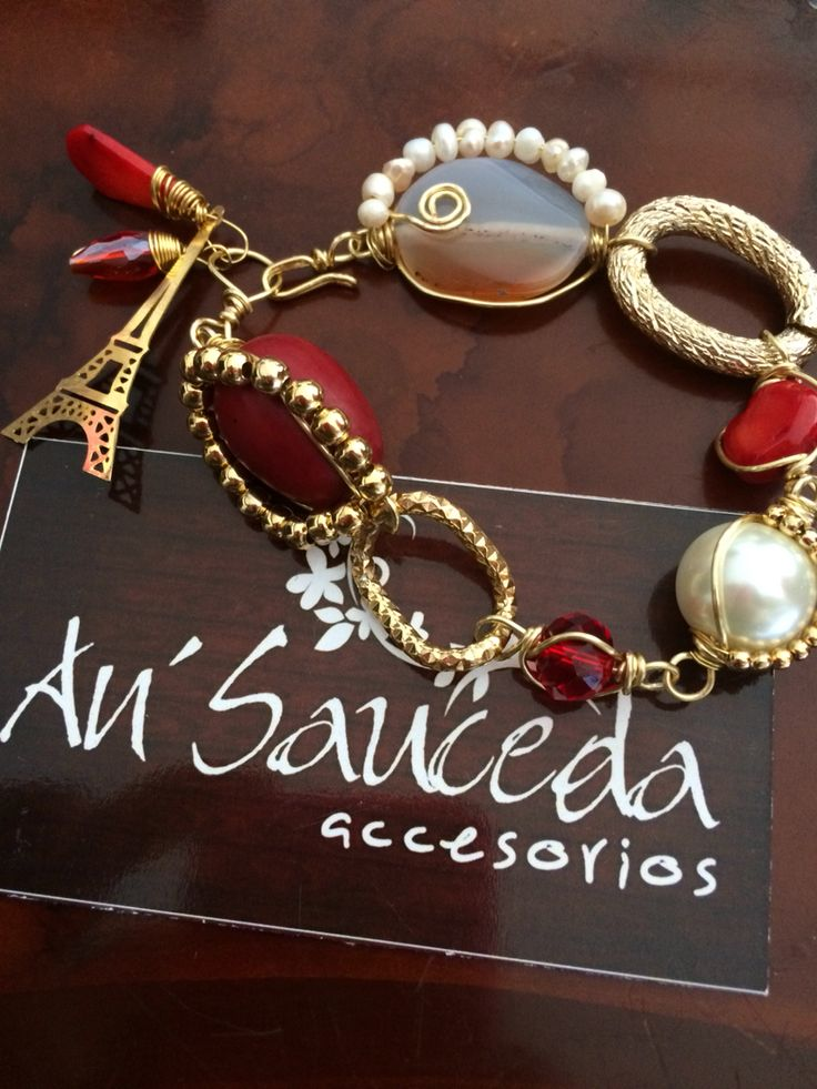 Pulsera piedras naturales roja alambrada engarce hecho a mano joyería accesorios Contacto 6444089134