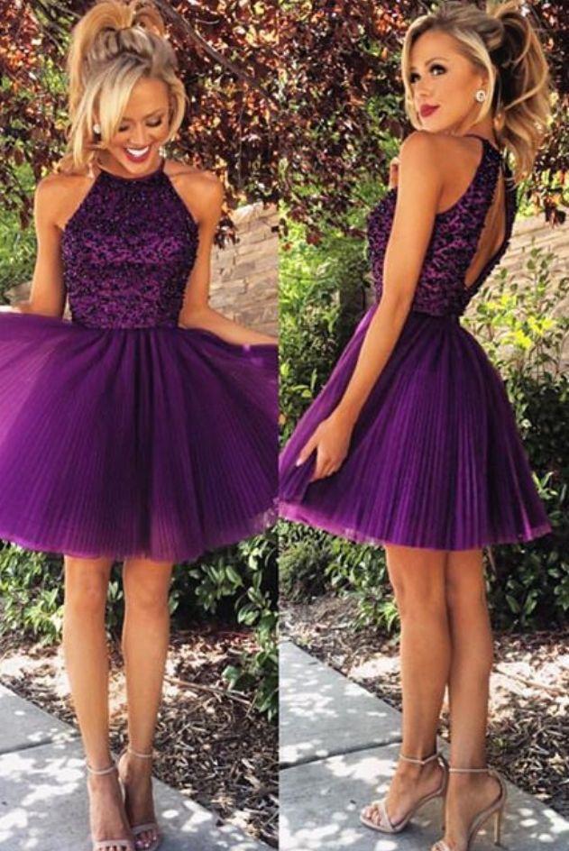 New Arrival Lovely Beaded Purple Royal Blue Short #shortpromdresses