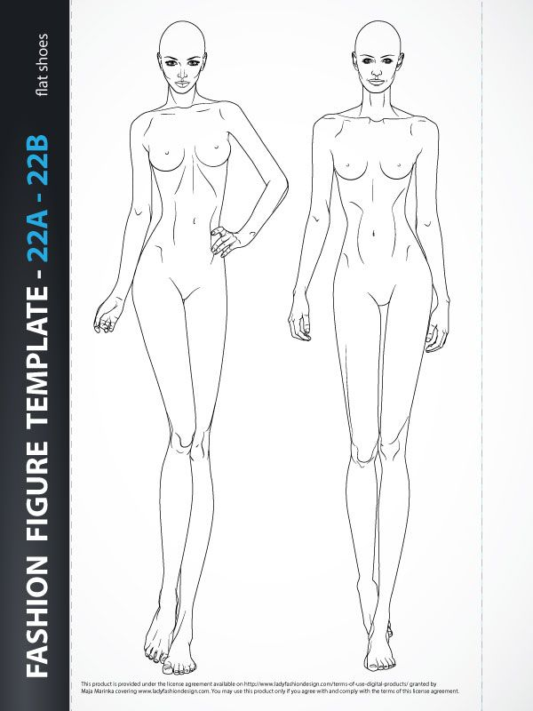 """Fashion croquis template- Body Template for Fashion Drawing , includes two fashion figures from the front, one is static and other dynamic showing catwalk. Both croquis have all body details. Croquiswith flatfeet for drawing flat shoes. Templates are based on """"9 HEADS"""" model proportions. Ready for print."""