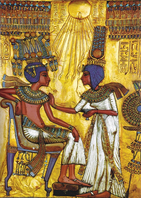 Tutankhamun & Ankhesenamun, wife of King Tutankhamun, she annoints her young husband in this image which forms the back of a gilded chair. She is the half sister of Tutankhamun, daughter of Nefertiti and Akhenaten.