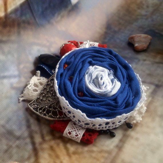 Ткань море брошь, брошь морской стиль, Текстиль круглый брошь, лето цветок брошь, синий Красный брошь, путешествие на лодке, пляжный стиль, морской стиль