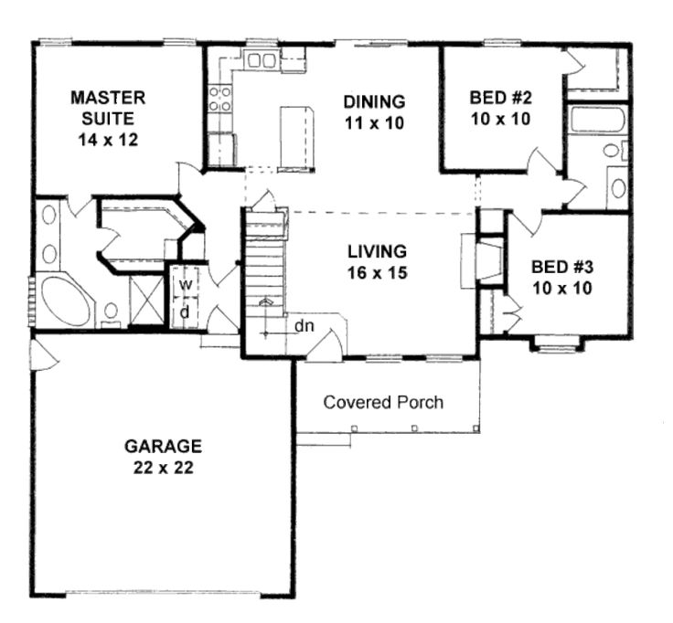 Small 3 Bedroom House Plans With Garage. 3 bedroom house plans one ...