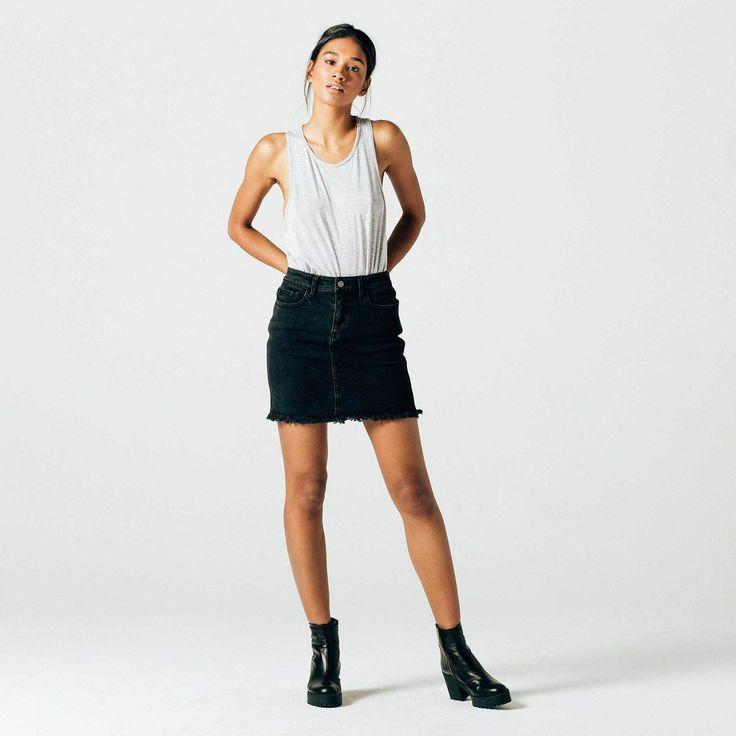 Womens High Waisted Denim Skirt in Faded Black 1