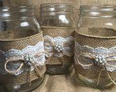 Set of 10 Burlap  Quart Mason jar wraps, Rustic wedding, Country wedding, Wedding centerpiece, Rustic mason jar, Wedding decor, Mason wraps