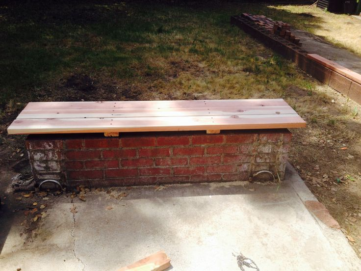 Old Brick Planter Turned Into A Redwood Bench In 2019 400 x 300