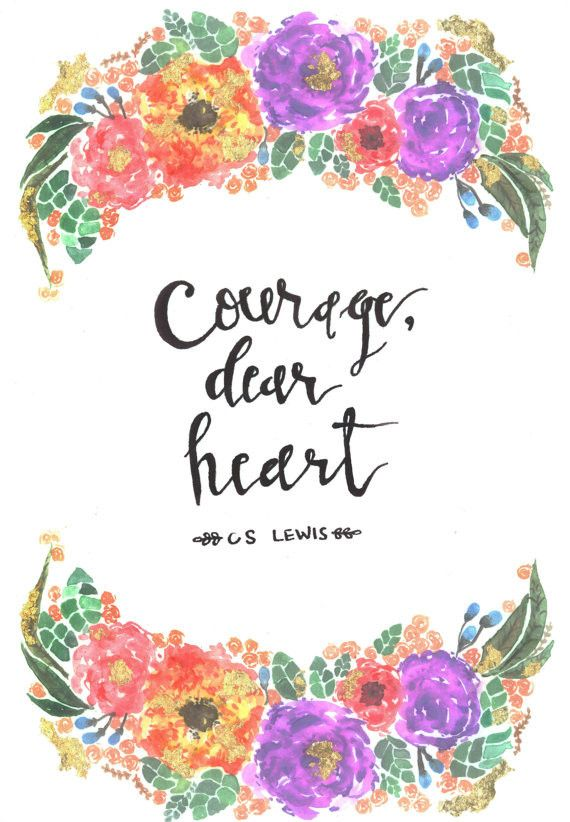gold leafed C.S. Lewis quote in watercolor & floral