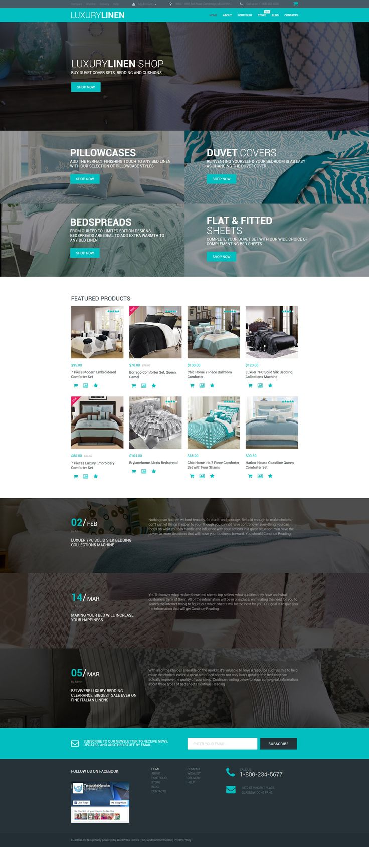 This theme for luxury linen store is made in bluish colors that render the feel of peace and relaxation. Header slider of the <b>Linen Store WooCommerce Theme</b> is replaced by video, which looks ...