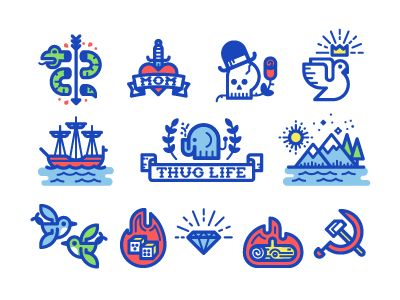 Tattoo Icons by Kevin Moran on Dribbble: https://dribbble.com/shots/1744506-Tattoo-Icons