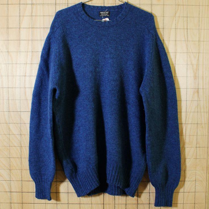【Brooks Brothers】スコットランド製ビンテージ80's古着ブルー(青)シェットランドウール100%クルーネックセーター メンズXL相当