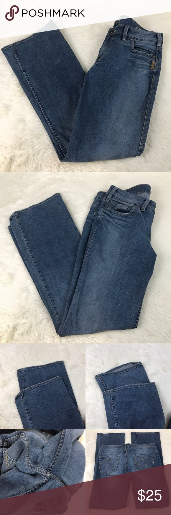 """Silver Jeans Denim Lex 31/34 Medium Wash Bootcut Women's Silver Jeans Denim Lex 31/33 Bootcut. See pics for staining/signs of wear/measurements. A little lighter blue than pics perceive. Total length 40"""". Inseam 32"""". Still lots of wear left in these jeans. Silver Jeans Jeans Boot Cut"""