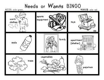 NEEDS and WANTS BINGO Game! Social Studies / Kindergarten.