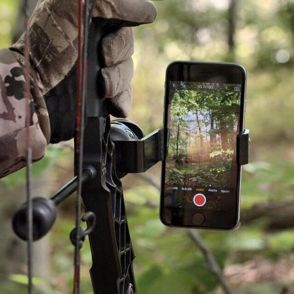 Turn your phone into a sports action camera with the Fighting Squirrel. The industry leading smartphone bow mount takes seconds to install and allows you to mount your phone with ease. The spring loaded technology enables the Fighting Squirrel to fit all phones in their cases. Mount the Fighting Squirrel vertically or horizontally behind your stabilizer and begin recording. #MobilizeYourHunt this fall, and share your next adventure with your friends and family!