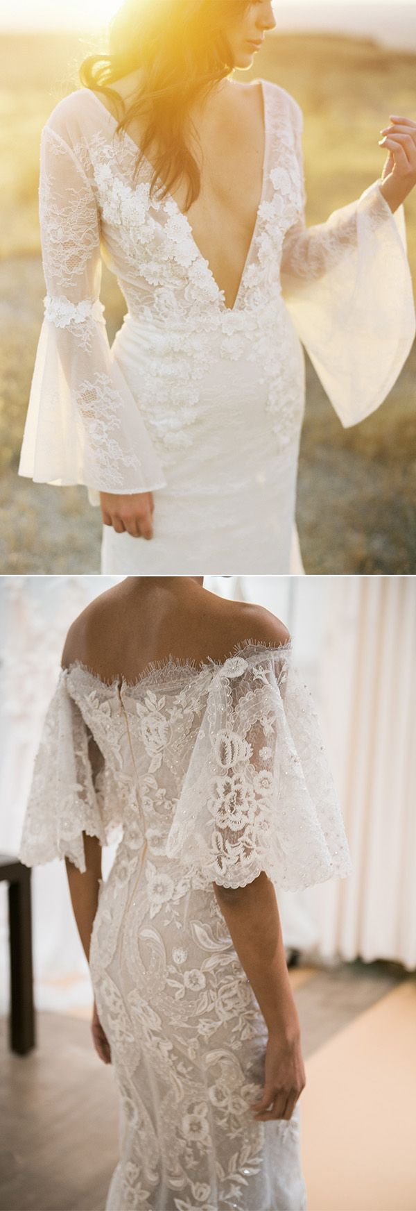 23 Stunning Wedding Dresses For 2018 Elegantweddinginvites Com Blog Wedding Dresses Bell Sleeve Wedding Dress Summer Wedding Dress Beach [ 1744 x 600 Pixel ]