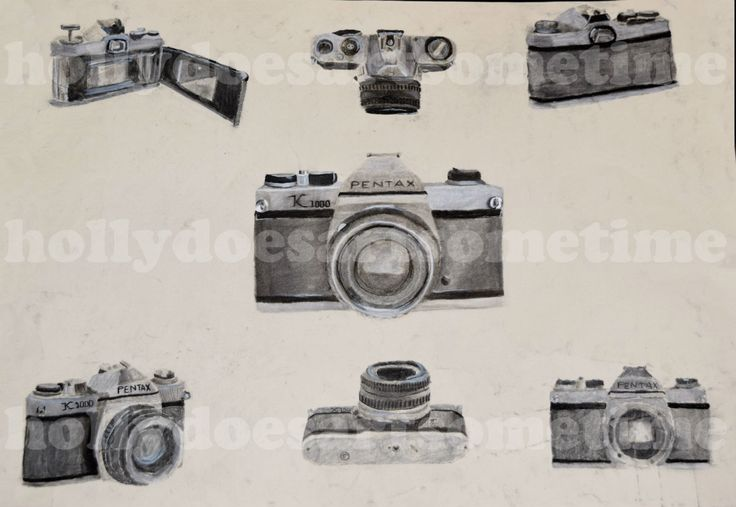 """This was my hand tool drawing I had to do for my portfolio review at Webster University. The prompt literally just said """"hand tool"""" and was extremely vague so I did an interpretation of it. I used charcoal, chalk, and white paint pen to draw a Pentax K1000 film camera."""