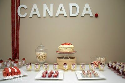 With free printables     Polkadot Prints: Canada Day Party :: Dessert Table