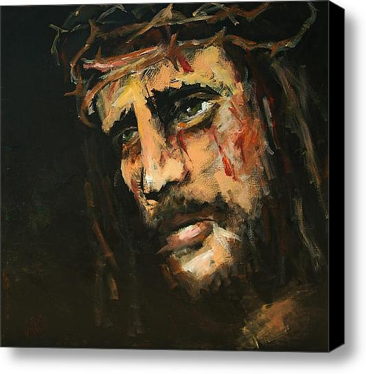 Crucified Jesus Stretched Canvas Print / Canvas Art By Carole Foret